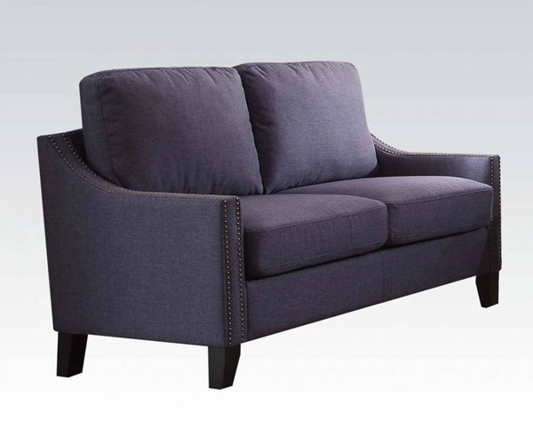 Zapata Contemporary Blue Fabric Wood Loveseat ACM-53551