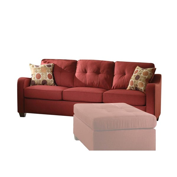 Acme Furniture Cleavon II Red Sofa with Two Pillows ACM-53560