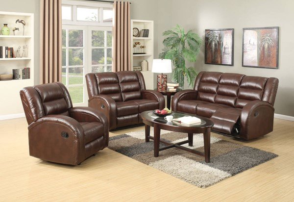 Dacey Lynn Brown Leather-Aire Wood Metal 3pc Living Room Set ACM-5356-LR-S1