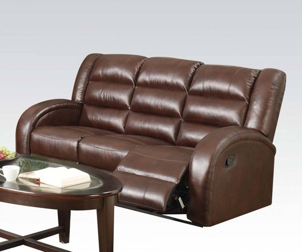Dacey Lynn Brown Leather-Aire Wood Metal Motion Sofa ACM-53565