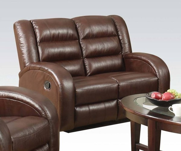 Dacey Lynn Brown Leather-Aire Wood Metal Motion Loveseat ACM-53566