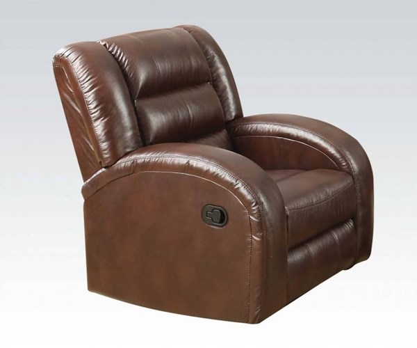 Dacey Lynn Brown Leather-Aire Wood Metal Recliner ACM-53567