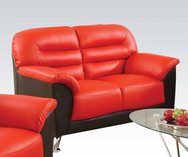 Sibba Modern Red Black PU Wood Foam Loveseat ACM-53571