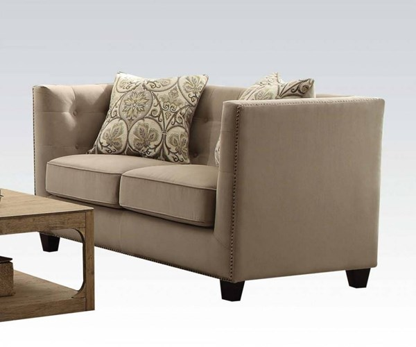 Juliana Beige Fabric Foam Solid Wood Loveseat w/2 Pillows ACM-53586