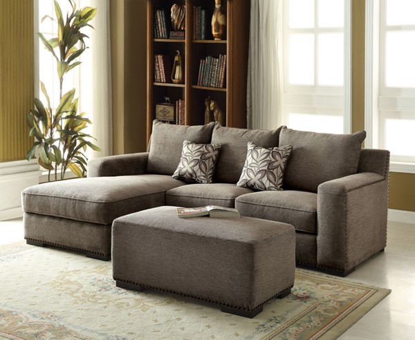 Acme Furniture Ushury Gray Sectional Sofa with Two Pillows ACM-53590
