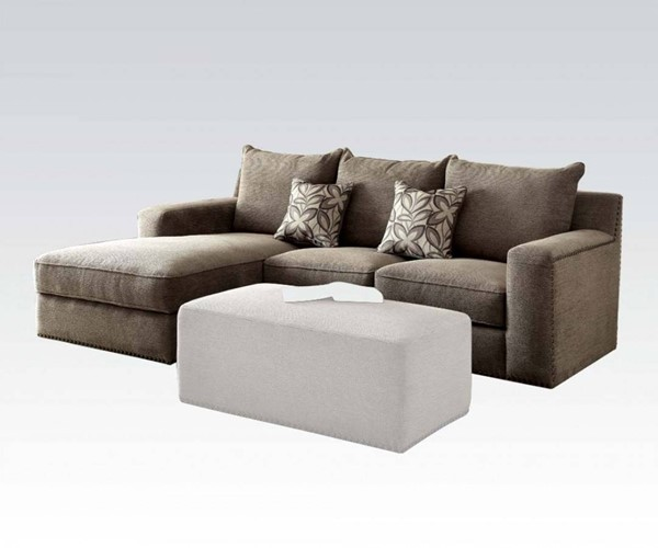 Ushury Contemporary Gray Fabric Solid Wood Sectional Sofa w/2 Pillows ACM-53590