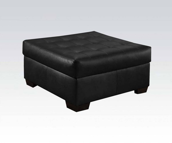 Shi Onyx Leather-Aire Wood Foam Ottoman ACM-53612