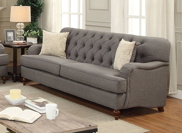 Alianza Traditional Dark Gray Fabric Wood Sofa w/2 Pillows ACM-53690
