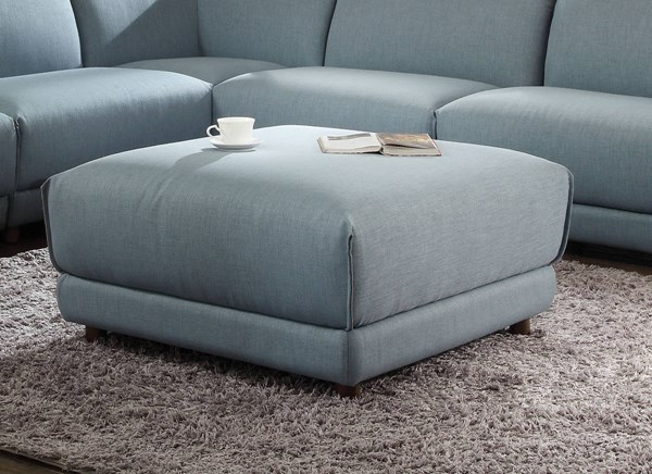 Adina Light Blue Fabric Wood Ottoman ACM-53729