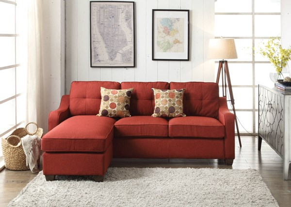 Cleavon II Contemporary Red Fabric Wood Sectional Sofa w/2 Pillows ACM-53740