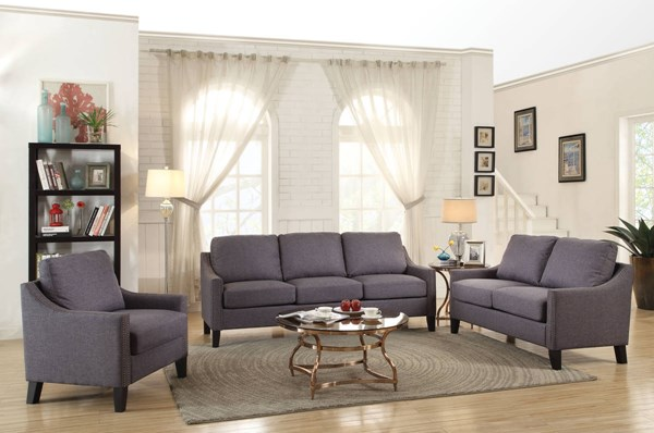 Zapata Jr Contemporary Gray Brown Fabric Wood 3pc Living Room Sets ACM-537-LR-S