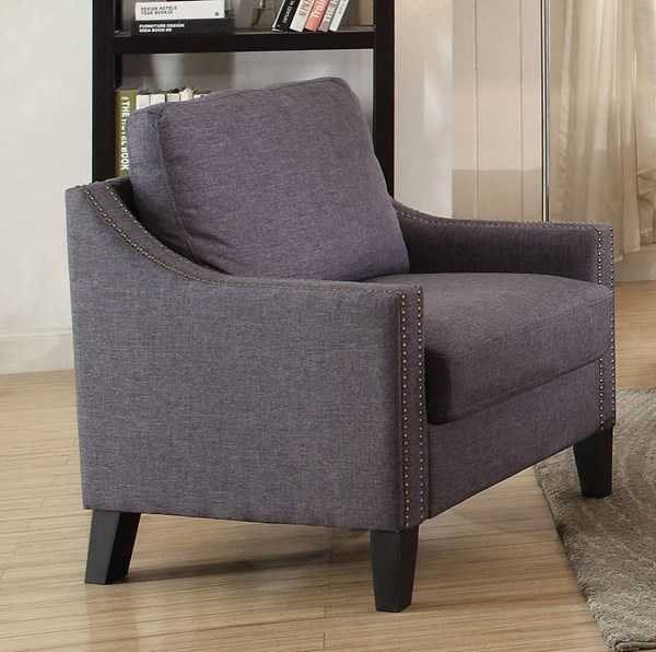 Zapata Jr Contemporary Gray Fabric Wood Chair ACM-53757