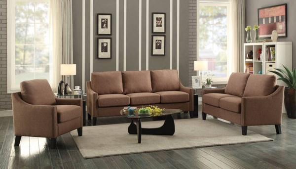 Zapata Jr Contemporary Brown Fabric Wood 3pc Living Room Set ACM-537-LR-S2