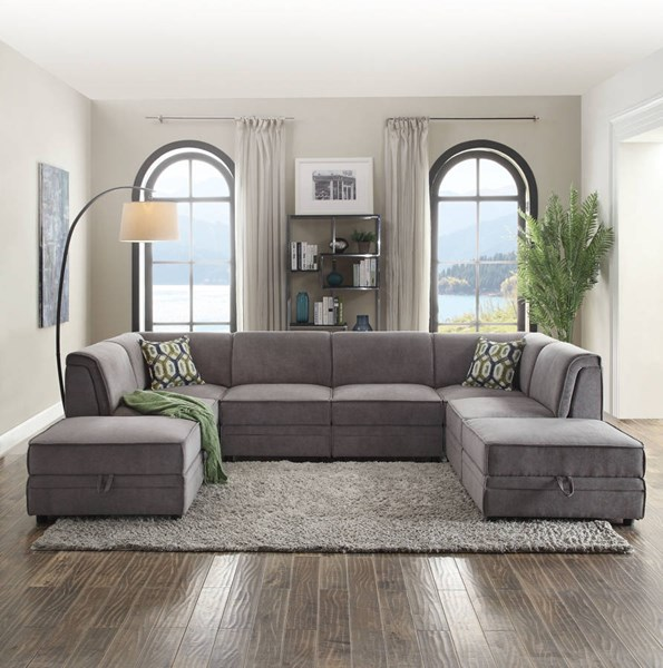 Bois Gray Velvet Foam Wood Sectional w/Ottoman ACM-53780-81-81