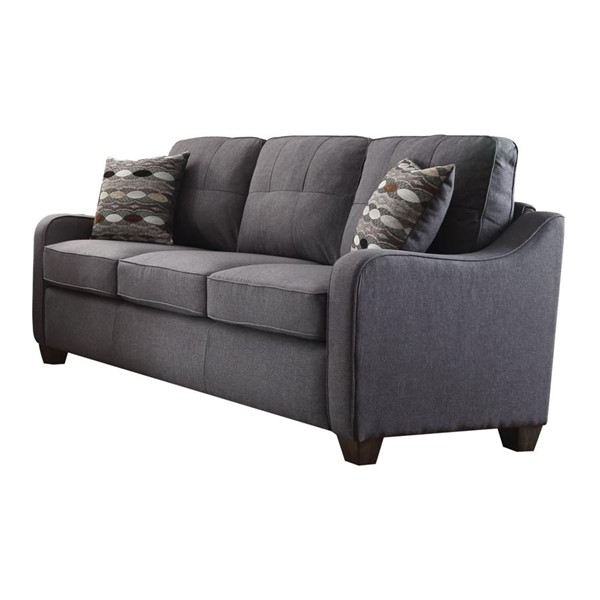 Acme Furniture Cleavon II Gray Sofa with Two Pillows ACM-53790