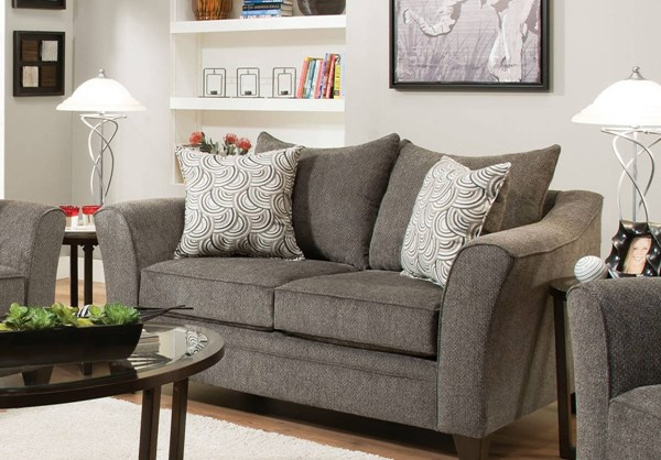 Albany Fabric Mixed Hardwood Loveseat w/Pillows ACM-53841