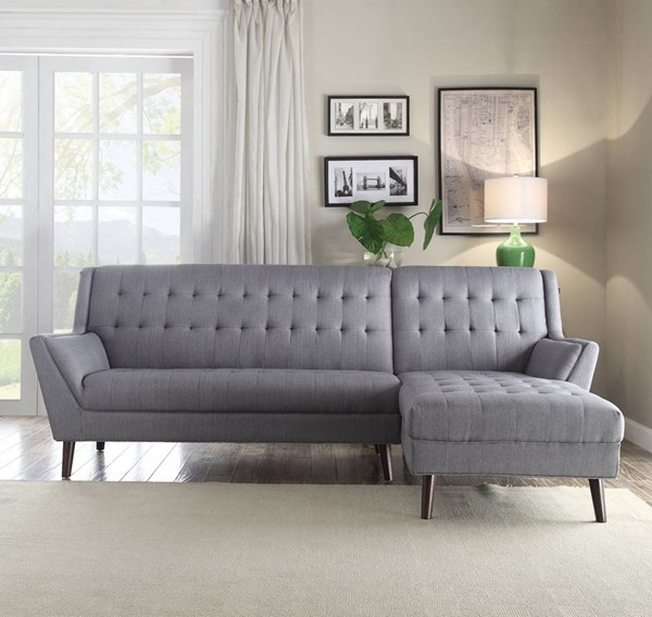 Watonga Contemporary Light Gray Linen Fabric Sectional Sofa ACM-53850