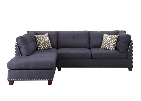 Acme Furniture Laurissa Dark Blue LAF Sectional and Ottoman ACM-54360