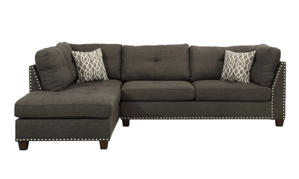 Acme Furniture Laurissa Charcoal LAF Sectional and Ottoman ACM-54370