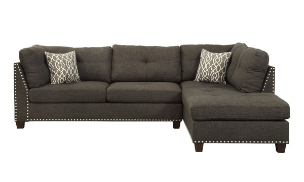 Acme Furniture Laurissa Charcoal Sectional Sofa and Ottoman ACM-54375