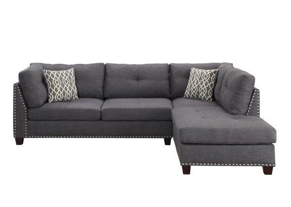 Acme Furniture Laurissa Light Charcoal RAF Sectional and Ottoman ACM-54385