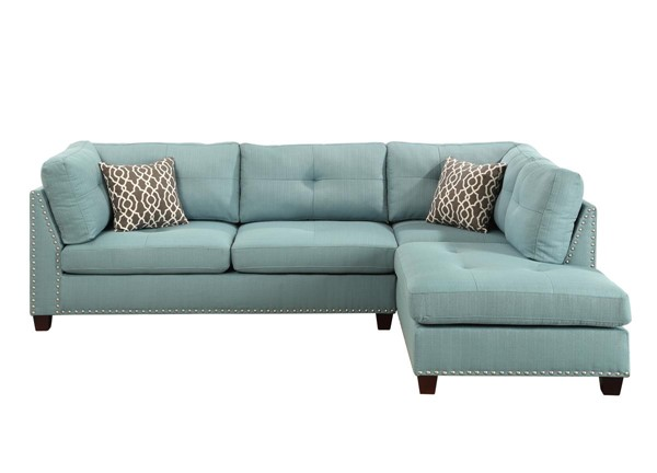 Acme Furniture Laurissa Light Teal RAF Sectional and Ottoman ACM-54395