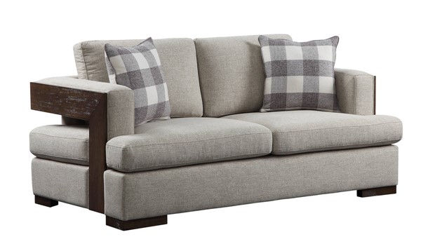 Acme Furniture Niamey Walnut Loveseat with 2 Pillows ACM-54851