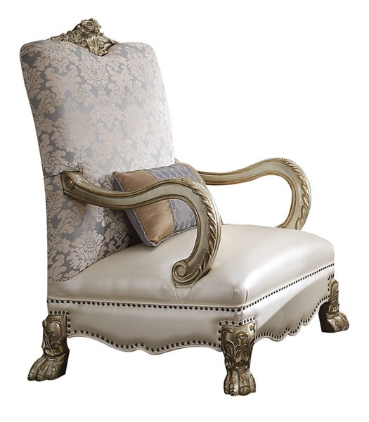 Acme Furniture Dresden II Pearl Gold Patina One Pillow Accent Chair ACM-54877