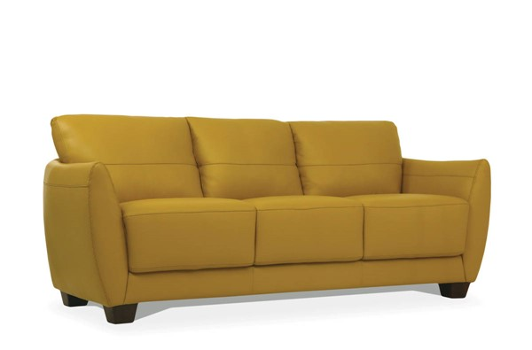 Acme Furniture Valeria Mustard Leather Wood Sofa ACM-54945