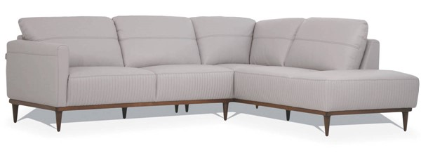Acme Furniture Tampa Pearl Gray Leather Sectional with RAF Chaise ACM-54970