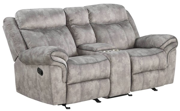Acme Furniture Zubaida Gray Velvet Loveseat with USB Dock and Console ACM-55026