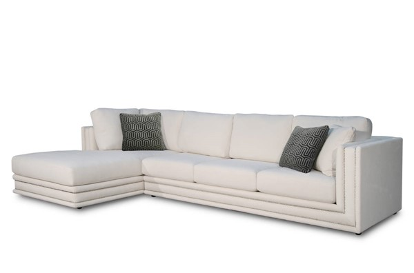 Acme Furniture Katell White Fabric Sectional Sofa with Pillows ACM-55160