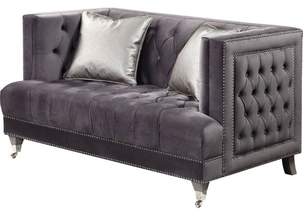 Acme Furniture Hegio Gray Loveseat with 2 Pillows ACM-55266