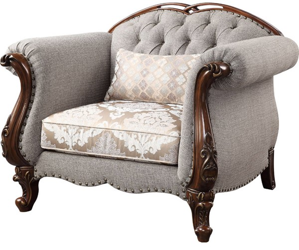 Acme Furniture Miyeon Cherry Chair with 1 Pillow ACM-55367