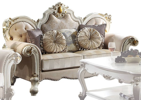 Acme Furniture Picardy Antique Pearl Loveseat with 5 Pillows ACM-55461