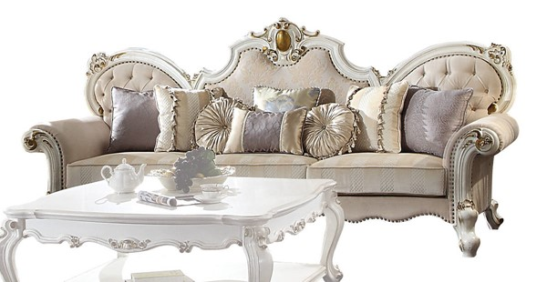 Acme Furniture Picardy Antique Pearl Oversized Sofa with 8 Pillows ACM-55465