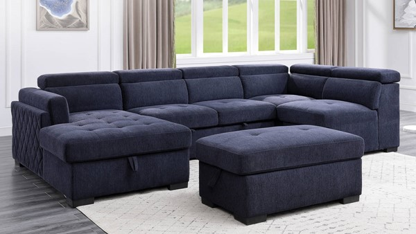 Acme Furniture Nekoda Navy Blue Storage Sleeper Sectional with Ottoman ACM-55520