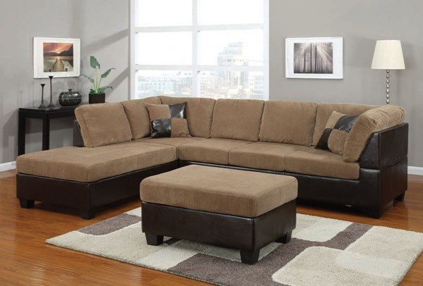 Connell Light Brown Espresso Fabric PU Wood Sectional Set W/Pillows ACM-55945-Set