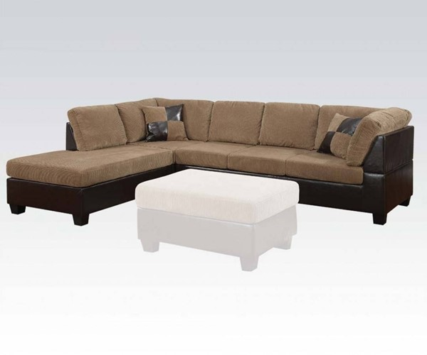Connell Light Brown Espresso PU Fabric Sectional Sofa w/2 Pillows ACM-55945