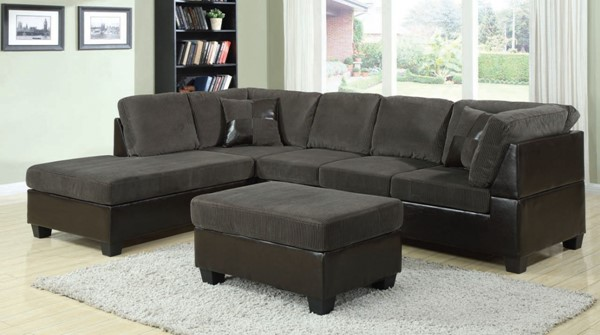 Connell Olive Gray Espresso PU Fabric Sectional Sofas W/2 Pillows ACM-55955-SEC-VAR