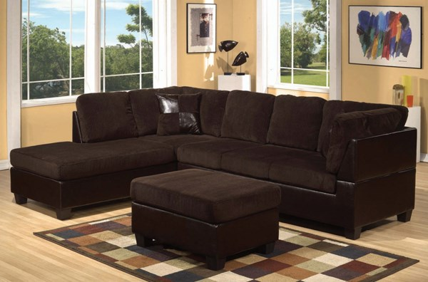 Connell Chocolate Espresso Fabric PU Wood Sectional Set W/Pillows ACM-55975-Set
