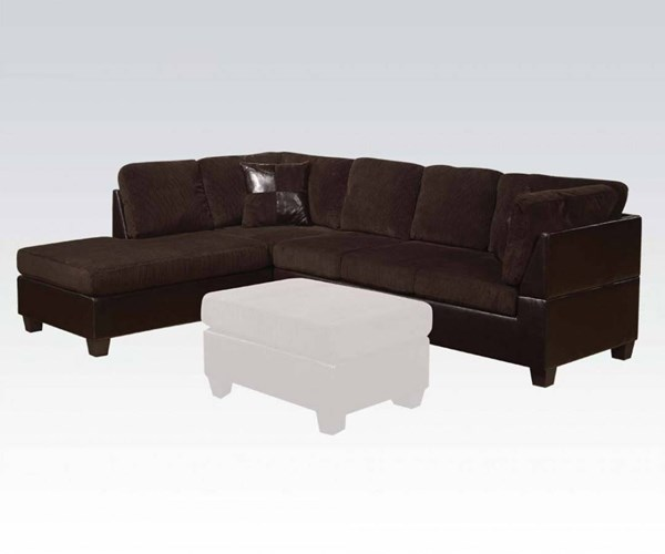 Connell Chocolate Espresso PU Fabric Sectional Sofa w/2 Pillows ACM-55975