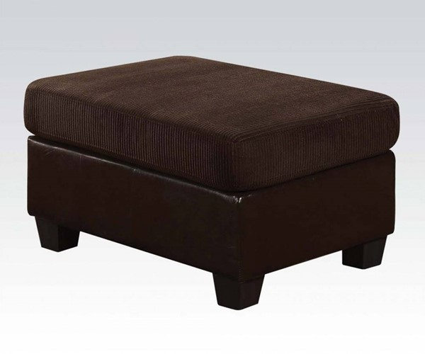 Connell Contemporary Chocolate Espresso Fabric PU Wood Ottoman ACM-55977