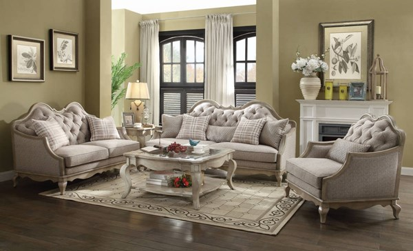 Chelmsford Traditional Beige Fabric Antique Taupe Wood Living Room Set ACM-5605-LR