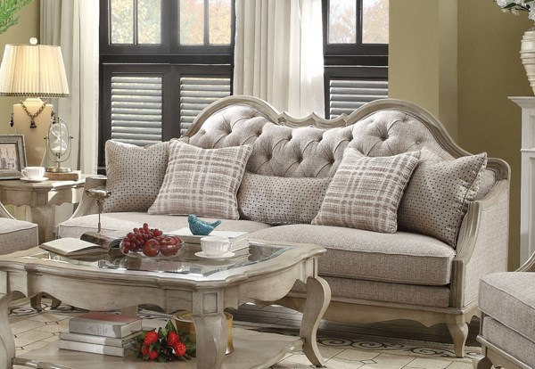 Chelmsford Beige Fabric Antique Taupe Wood Sofa w/5 Pillows ACM-56050