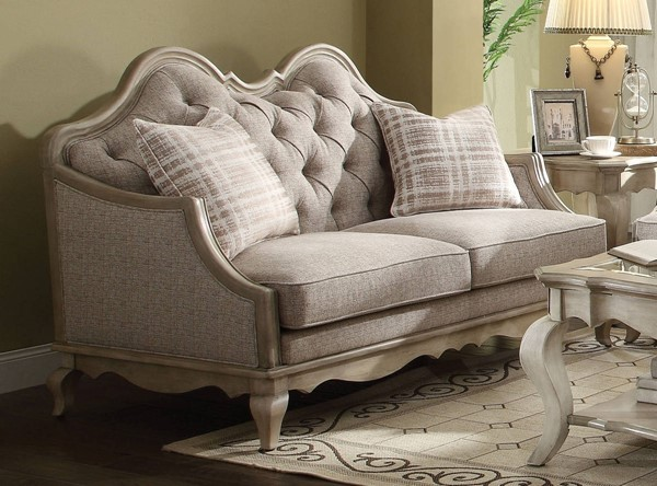 Chelmsford Beige Fabric Antique Taupe Wood Loveseat w/2 Pillows ACM-56051