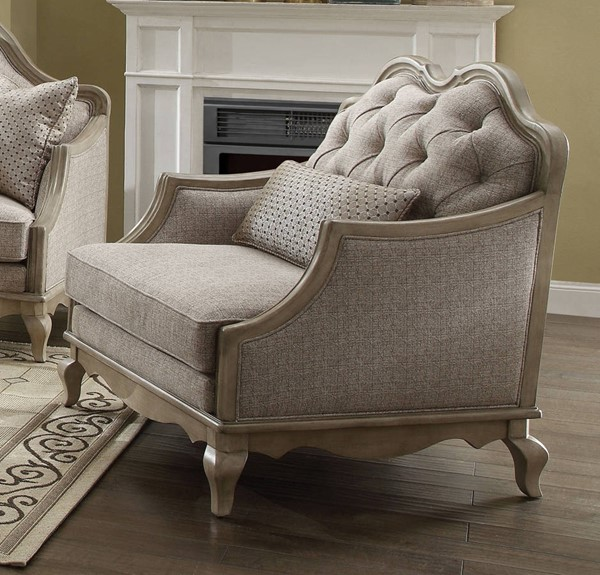Chelmsford Beige Fabric Antique Taupe Wood Chair w/1 Pillow ACM-56052