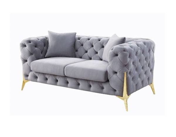 Acme Furniture Jelanea Gray Gold Loveseat with 2 Pillows ACM-56116