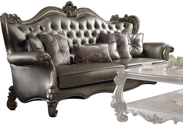 Acme Furniture Versailles Silver Antique Sofa with Six Pillows ACM-56820