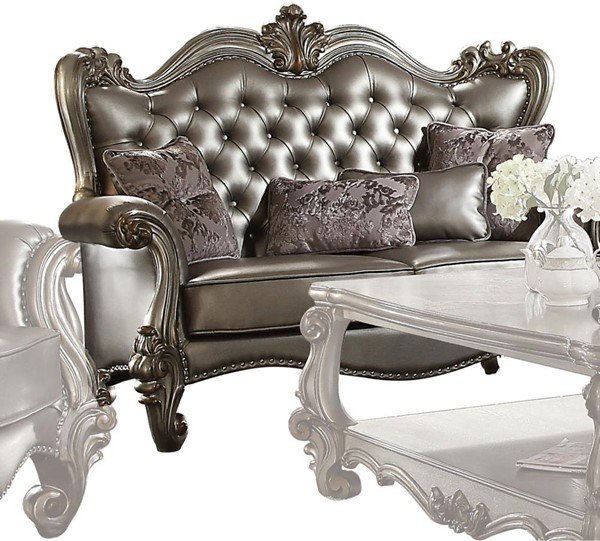 Acme Furniture Versailles Silver Antique Loveseat with Four Pillows ACM-56821